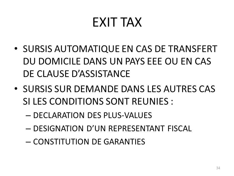 EXIT TAX SURSIS AUTOMATIQUE EN CAS DE TRANSFERT DU DOMICILE DANS UN PAYS EEE OU EN CAS DE CLAUSE D'ASSISTANCE.