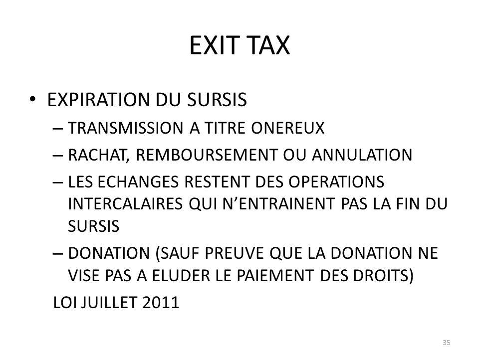 EXIT TAX EXPIRATION DU SURSIS TRANSMISSION A TITRE ONEREUX