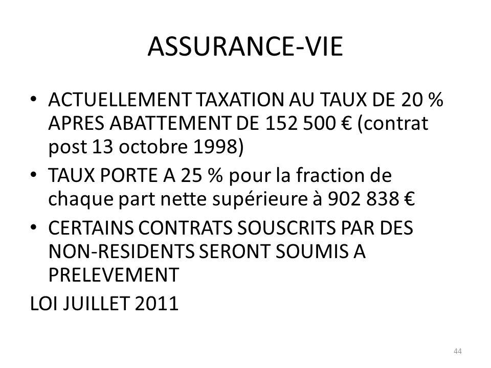 ASSURANCE-VIE ACTUELLEMENT TAXATION AU TAUX DE 20 % APRES ABATTEMENT DE 152 500 € (contrat post 13 octobre 1998)