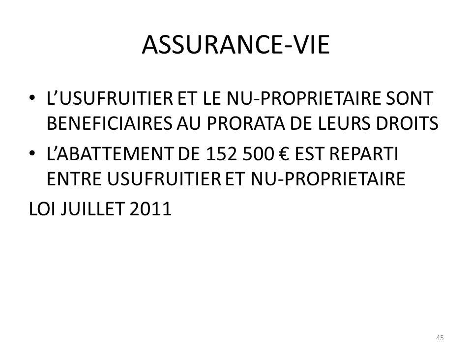 ASSURANCE-VIE L'USUFRUITIER ET LE NU-PROPRIETAIRE SONT BENEFICIAIRES AU PRORATA DE LEURS DROITS.