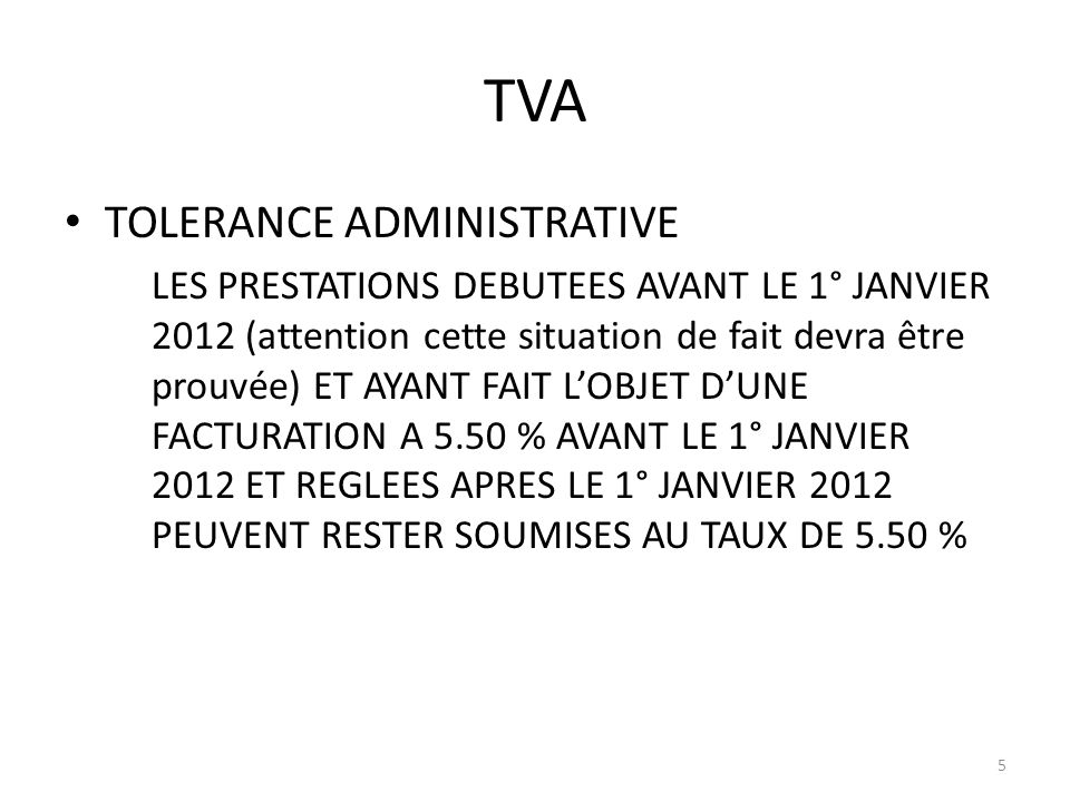 TVA TOLERANCE ADMINISTRATIVE