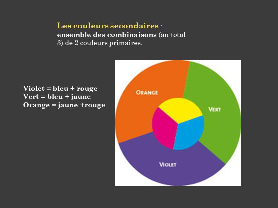 Les couleurs secondaires : ensemble des combinaisons (au total 3) de 2 couleurs primaires.
