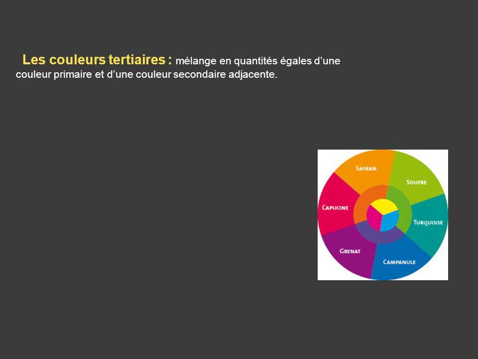 Les couleurs tertiaires : mélange en quantités égales d'une couleur primaire et d'une couleur secondaire adjacente.