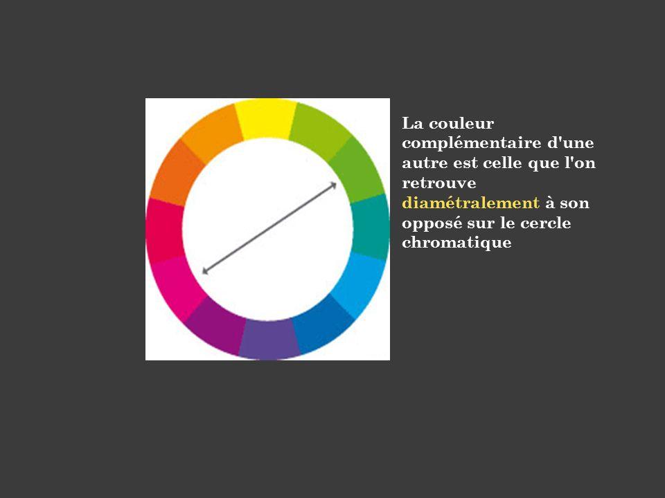 La couleur complémentaire d une autre est celle que l on retrouve diamétralement à son opposé sur le cercle chromatique