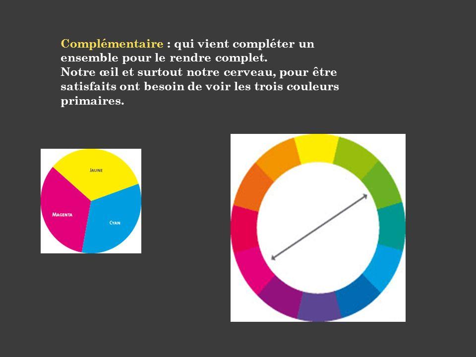 Complémentaire : qui vient compléter un ensemble pour le rendre complet.