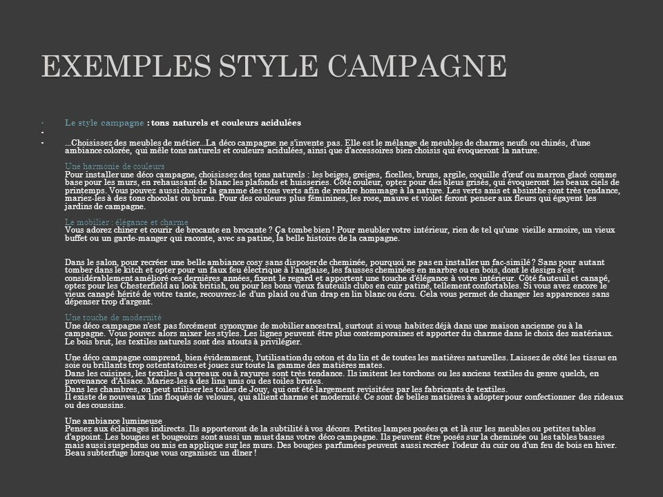 Exemples style campagne