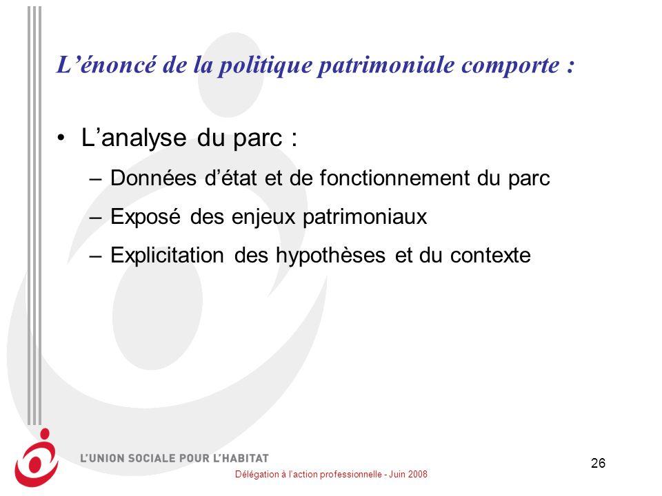 L'énoncé de la politique patrimoniale comporte :