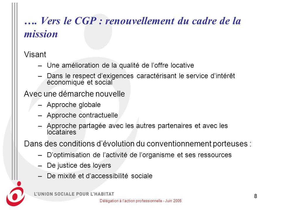 …. Vers le CGP : renouvellement du cadre de la mission