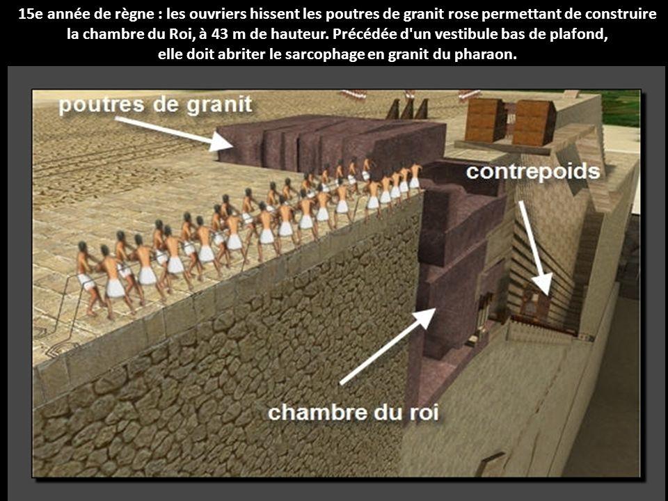 15e année de règne : les ouvriers hissent les poutres de granit rose permettant de construire la chambre du Roi, à 43 m de hauteur.