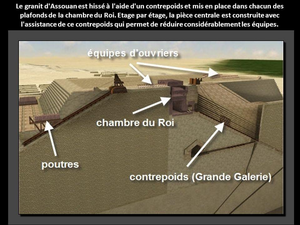 Le granit d Assouan est hissé à l aide d un contrepoids et mis en place dans chacun des plafonds de la chambre du Roi.