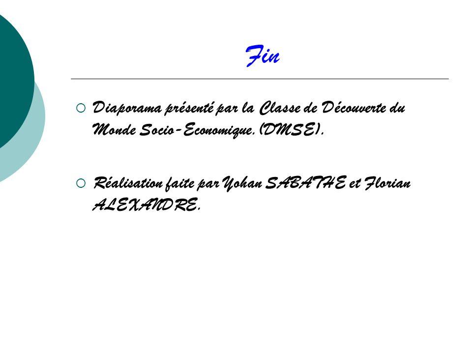 Fin Diaporama présenté par la Classe de Découverte du Monde Socio-Economique.(DMSE).