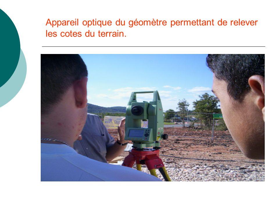 Appareil optique du géomètre permettant de relever les cotes du terrain.