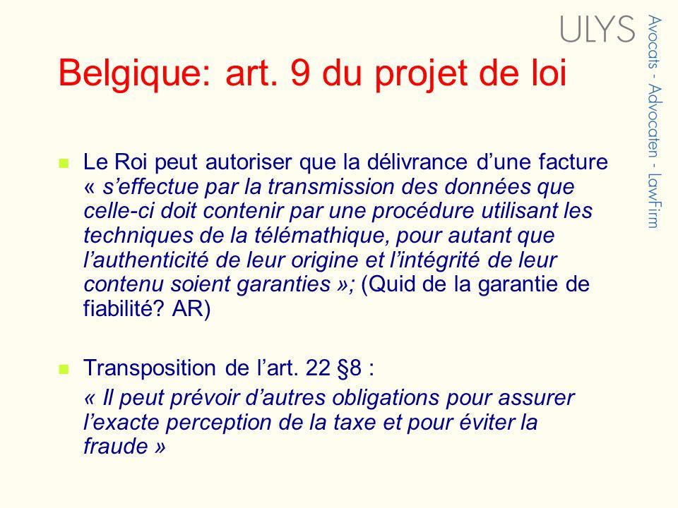 Belgique: art. 9 du projet de loi