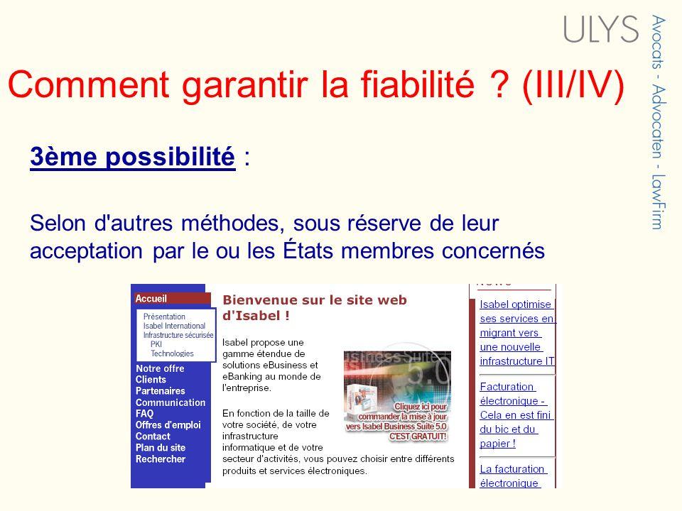 Comment garantir la fiabilité (III/IV)