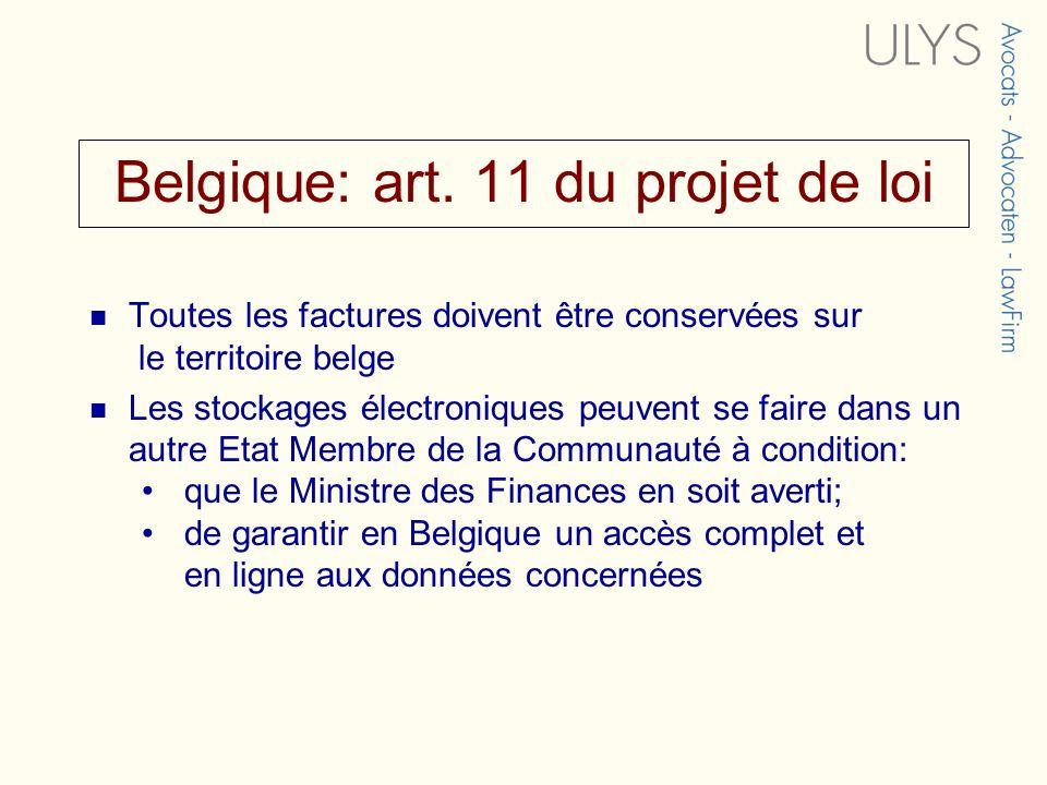 Belgique: art. 11 du projet de loi
