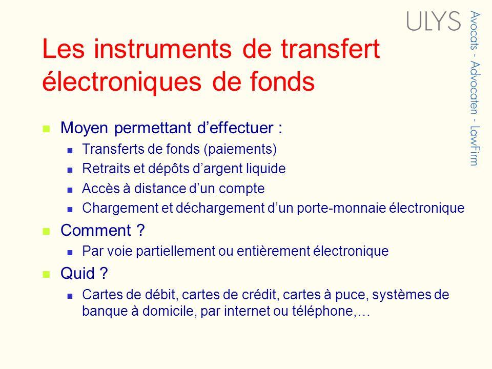 Les instruments de transfert électroniques de fonds