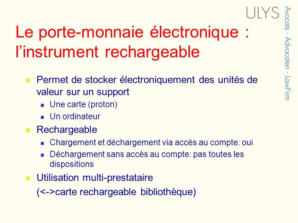 Le porte-monnaie électronique : l'instrument rechargeable
