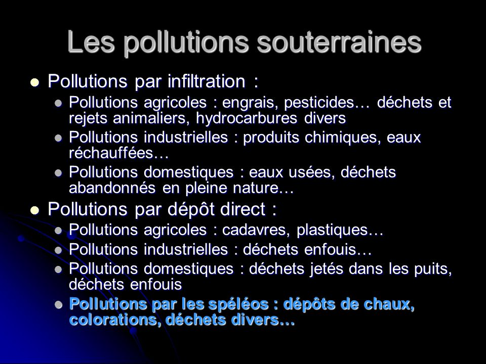 Les pollutions souterraines