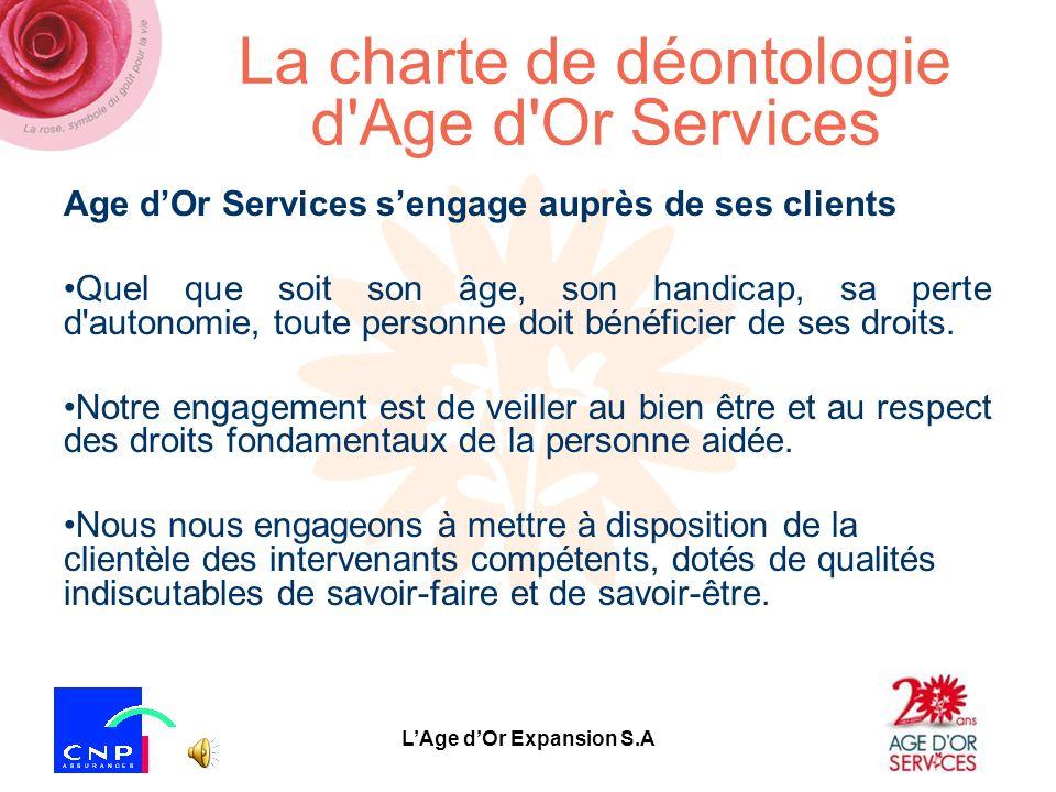 La charte de déontologie d Age d Or Services