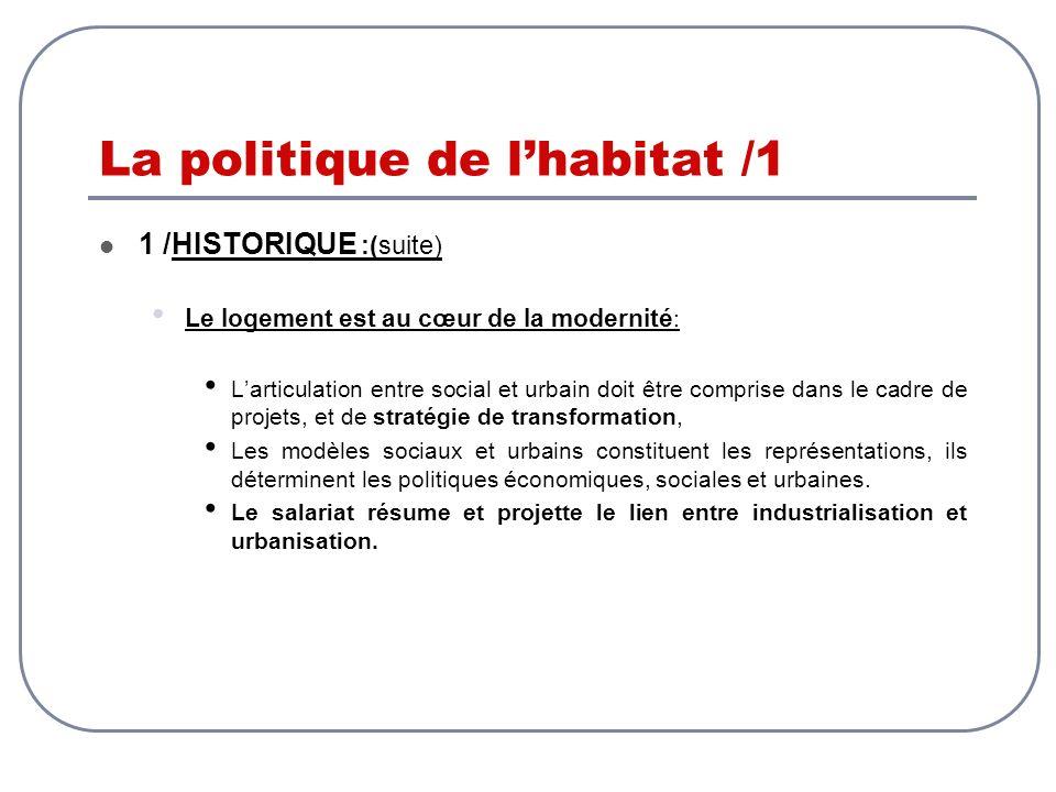 La politique de l'habitat /1