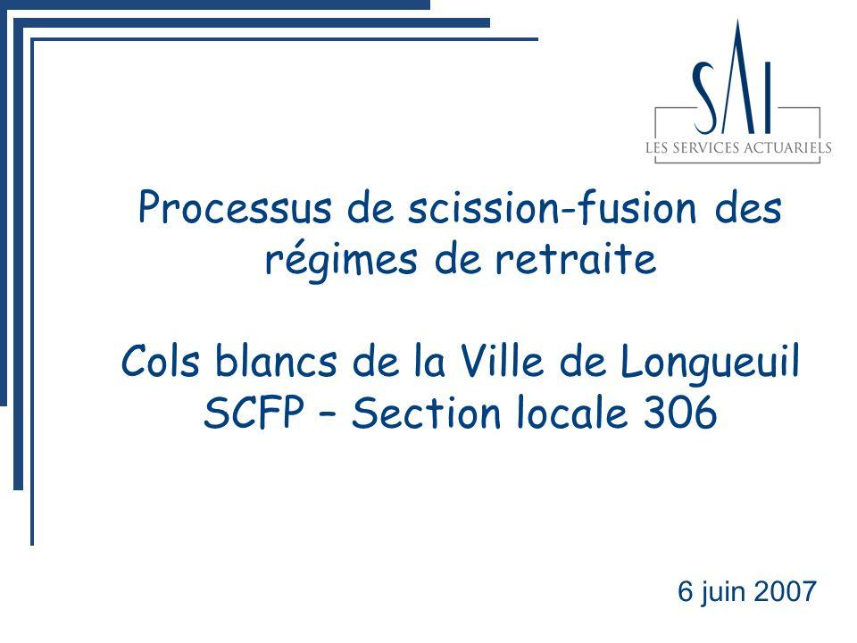 Processus de scission-fusion des régimes de retraite Cols blancs de la Ville de Longueuil SCFP – Section locale 306