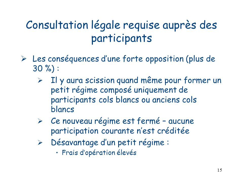 Consultation légale requise auprès des participants