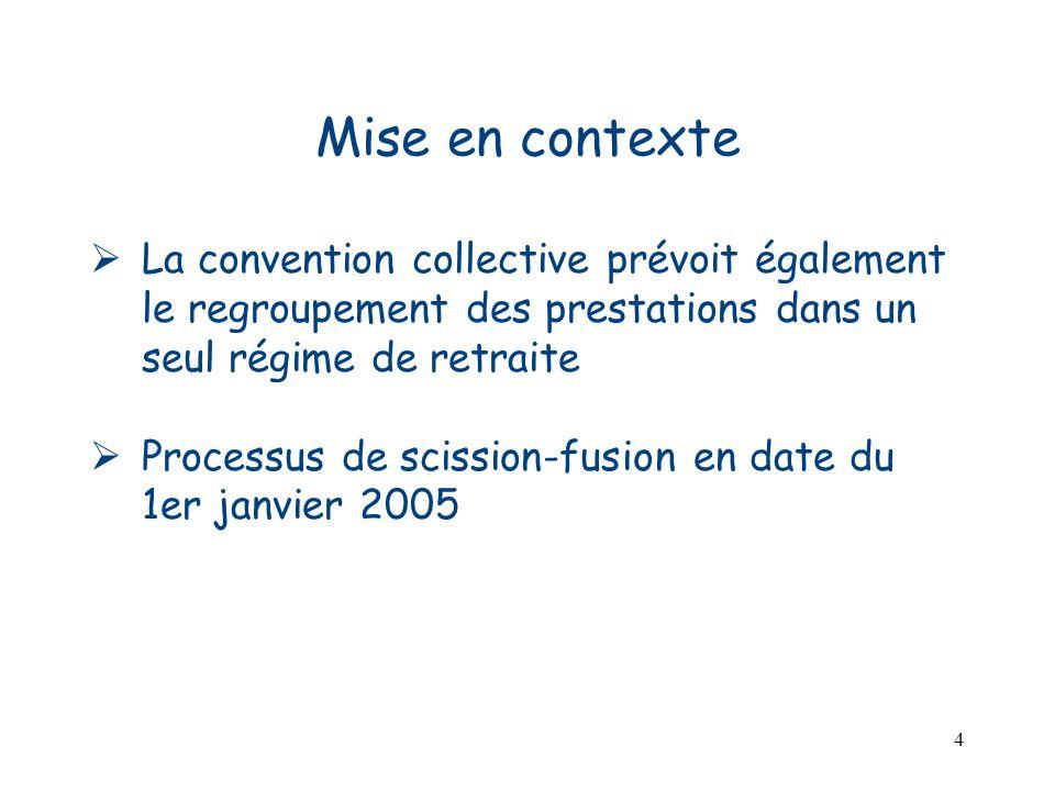 Mise en contexte La convention collective prévoit également le regroupement des prestations dans un seul régime de retraite.