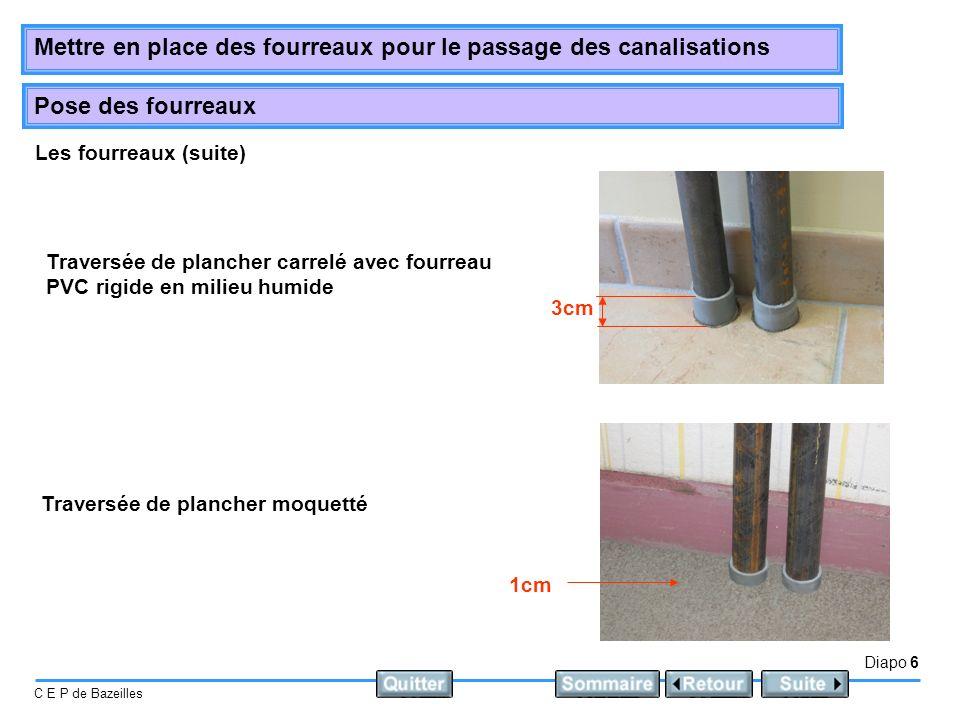 Les fourreaux (suite) Traversée de plancher carrelé avec fourreau PVC rigide en milieu humide. 3cm.