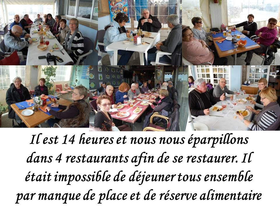 Il est 14 heures et nous nous éparpillons dans 4 restaurants afin de se restaurer.