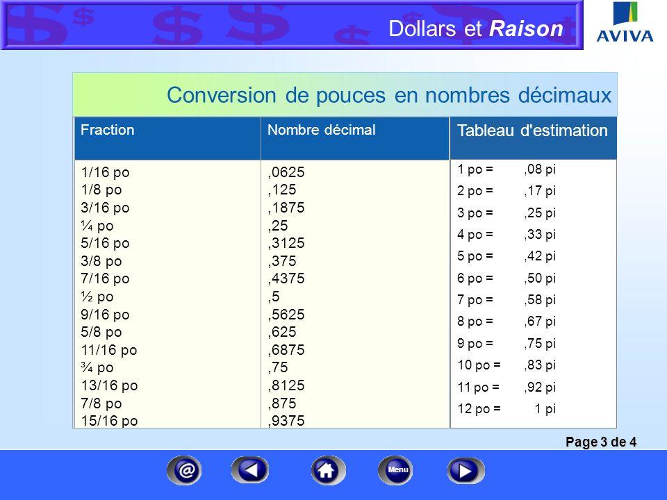 Conversion de pouces en nombres décimaux