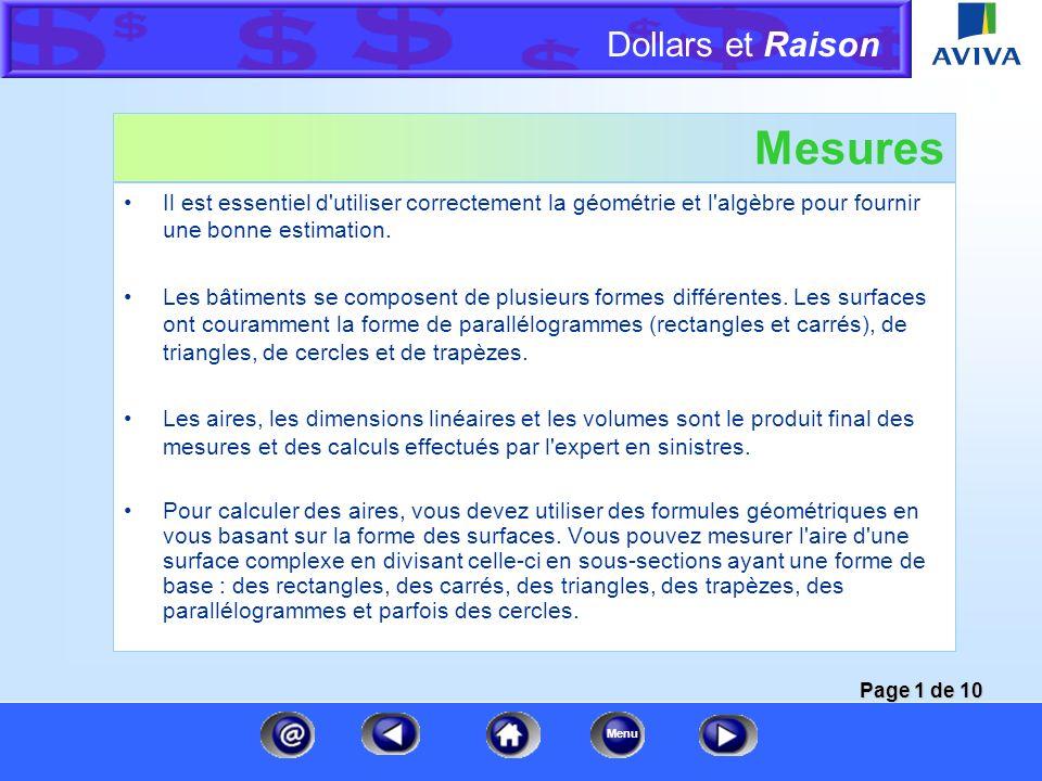 Mesures Il est essentiel d utiliser correctement la géométrie et l algèbre pour fournir une bonne estimation.