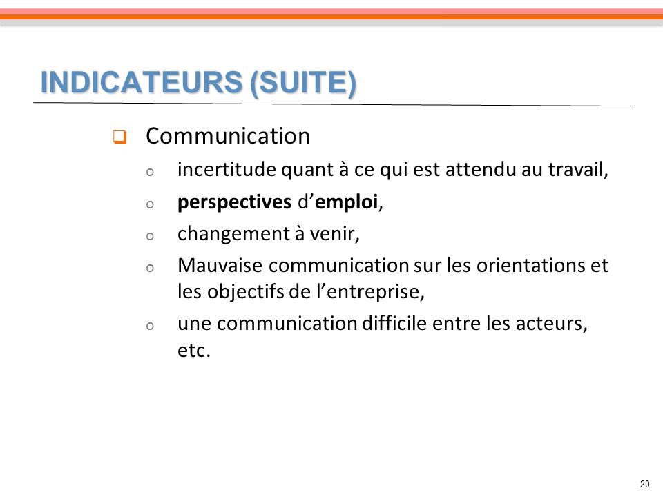 INDICATEURS (SUITE) Communication