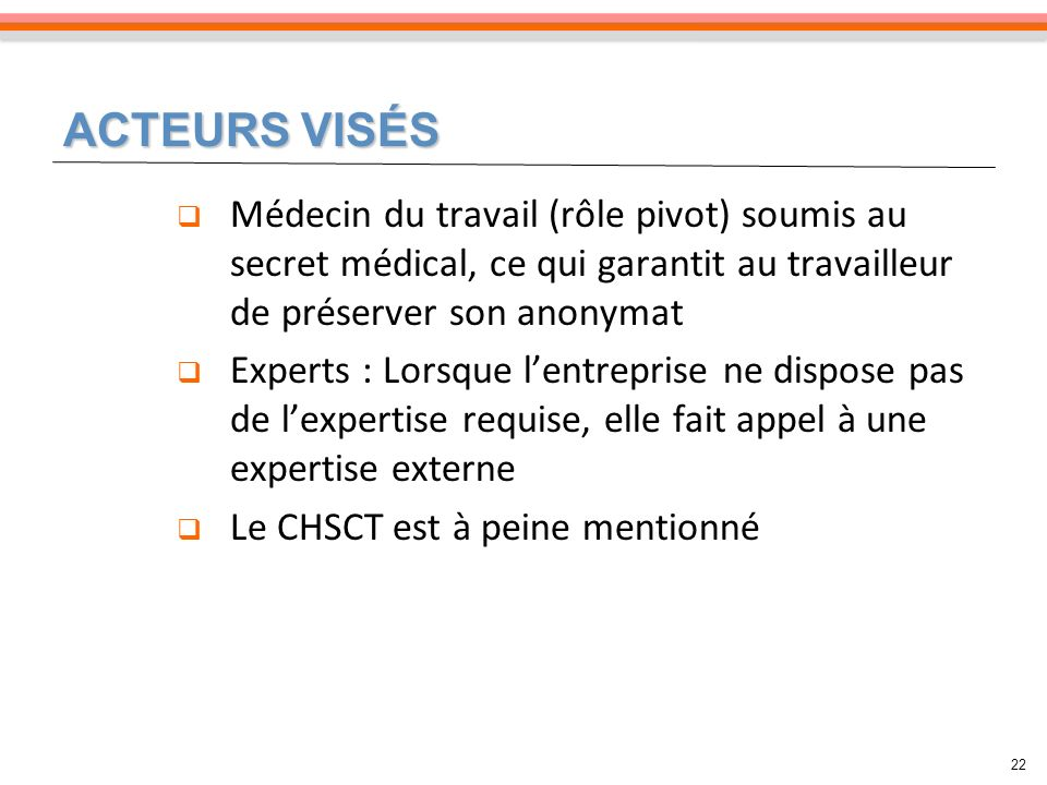 ACTEURS VISÉS Médecin du travail (rôle pivot) soumis au secret médical, ce qui garantit au travailleur de préserver son anonymat.