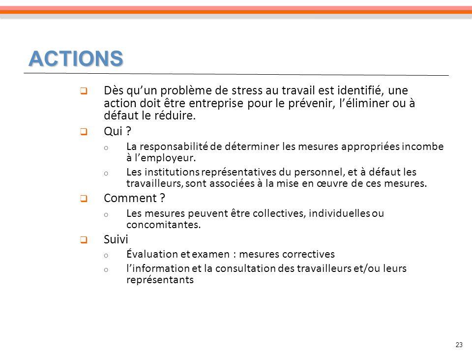 ACTIONS Dès qu'un problème de stress au travail est identifié, une action doit être entreprise pour le prévenir, l'éliminer ou à défaut le réduire.