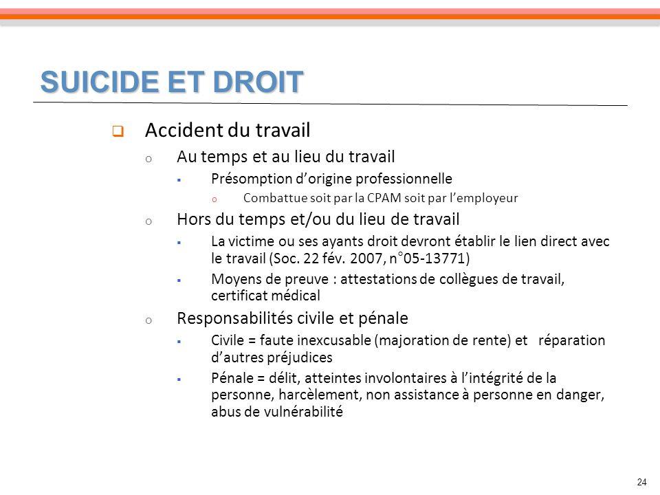 SUICIDE ET DROIT Accident du travail Au temps et au lieu du travail