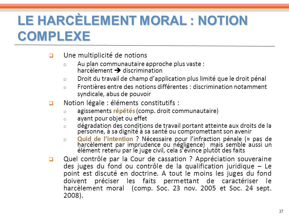 LE HARCÈLEMENT MORAL : NOTION COMPLEXE