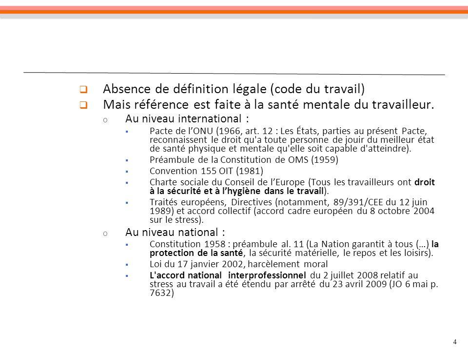 Absence de définition légale (code du travail)