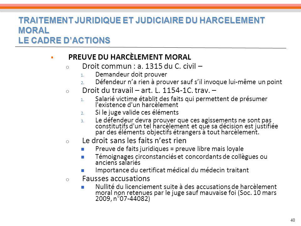 PREUVE DU HARCÈLEMENT MORAL Droit commun : a. 1315 du C. civil –