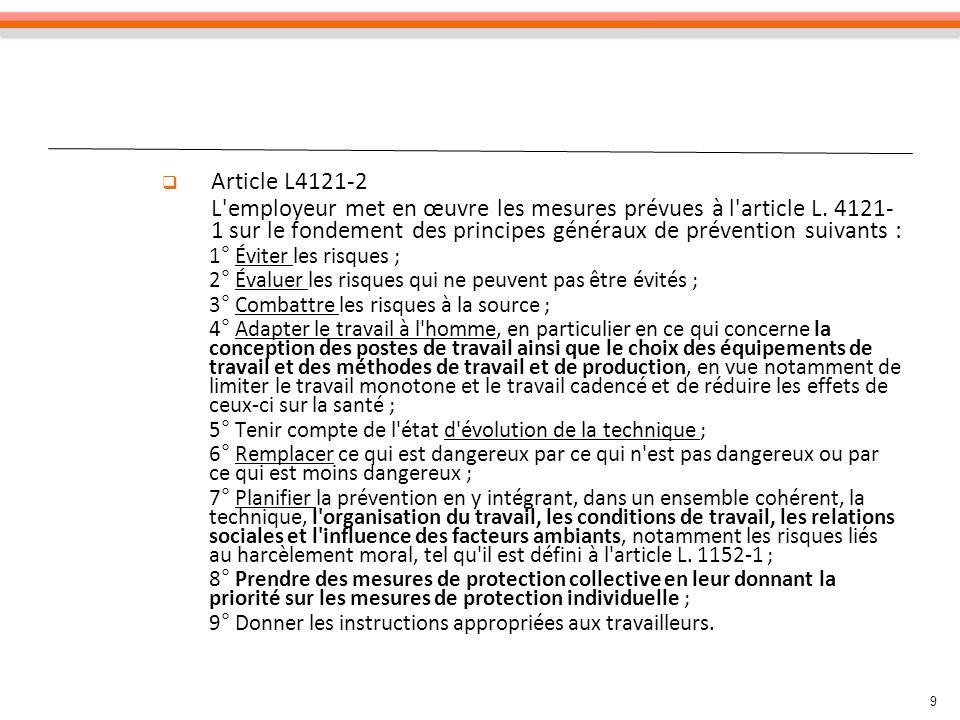 Article L4121-2 L employeur met en œuvre les mesures prévues à l article L. 4121-1 sur le fondement des principes généraux de prévention suivants :