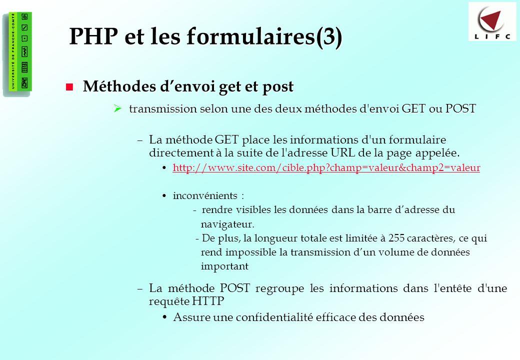 PHP et les formulaires(3)