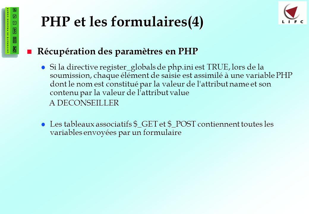 PHP et les formulaires(4)