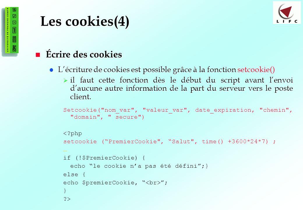Les cookies(4) Écrire des cookies