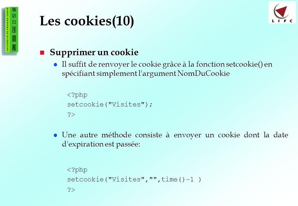 Les cookies(10) Supprimer un cookie