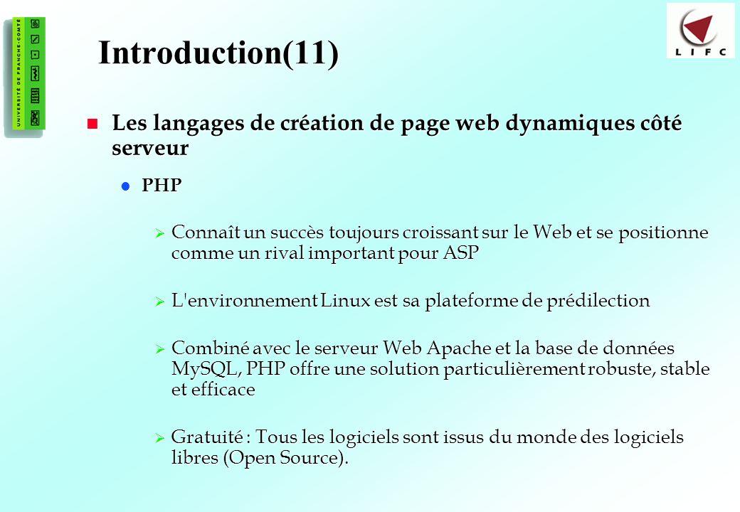 Introduction(11) Les langages de création de page web dynamiques côté serveur. PHP.
