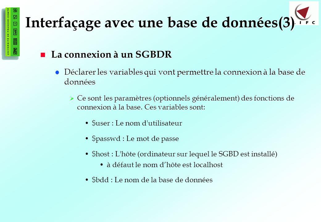 Interfaçage avec une base de données(3)