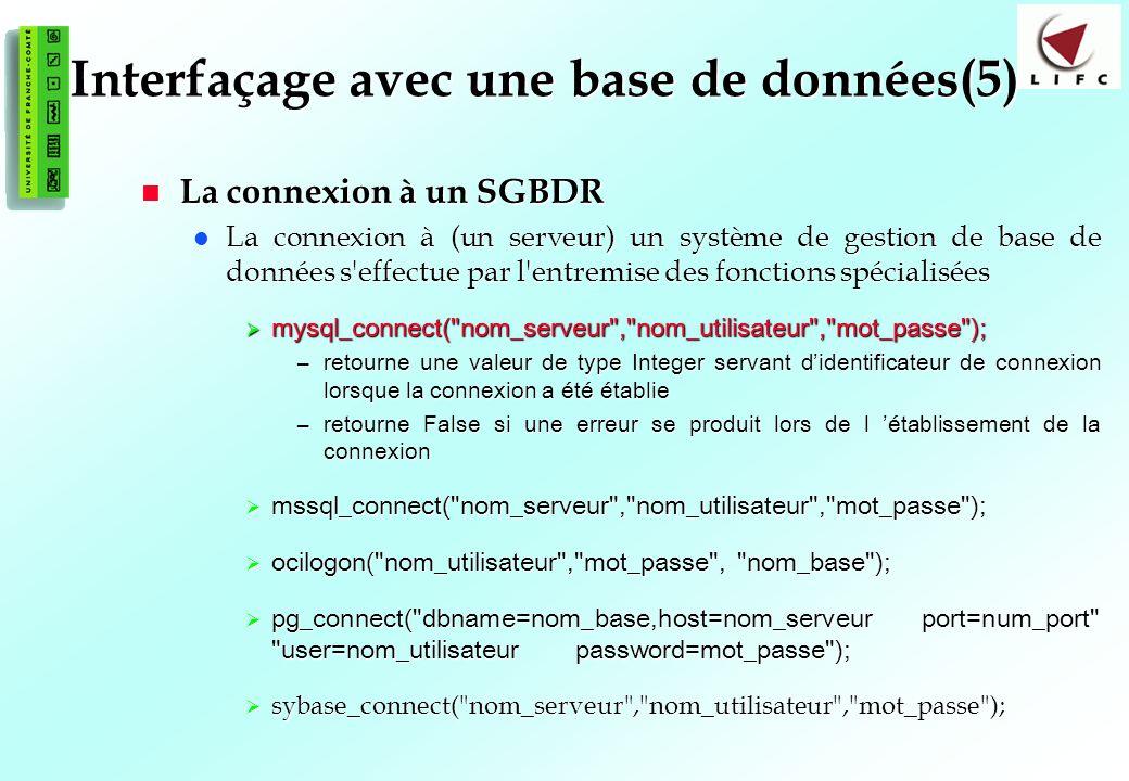 Interfaçage avec une base de données(5)