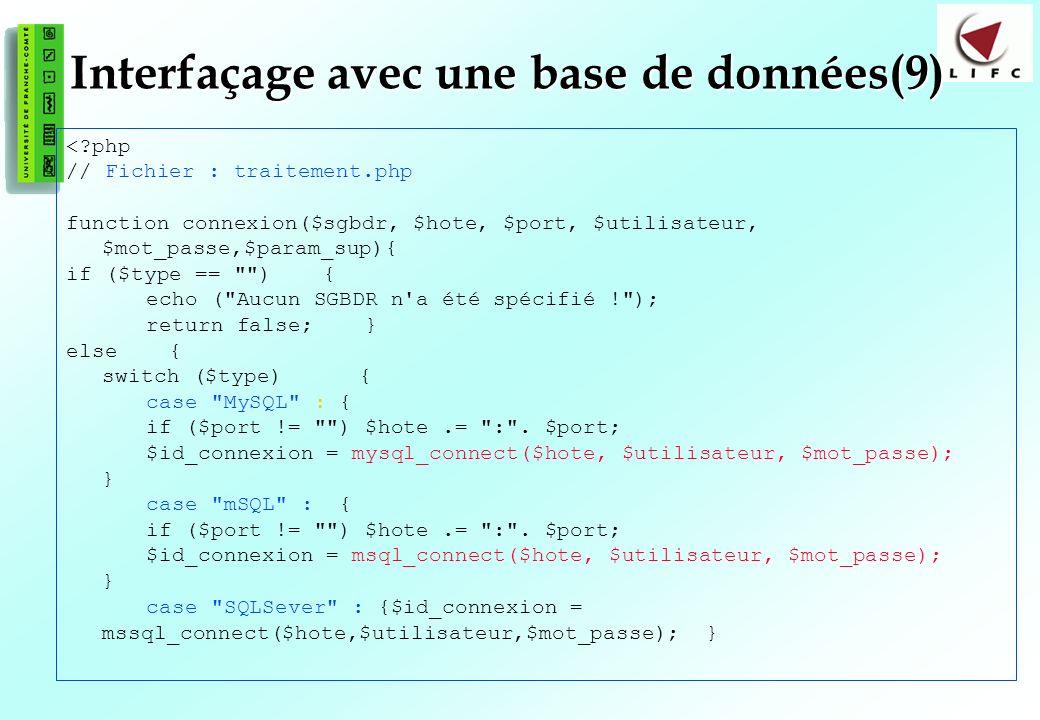 Interfaçage avec une base de données(9)