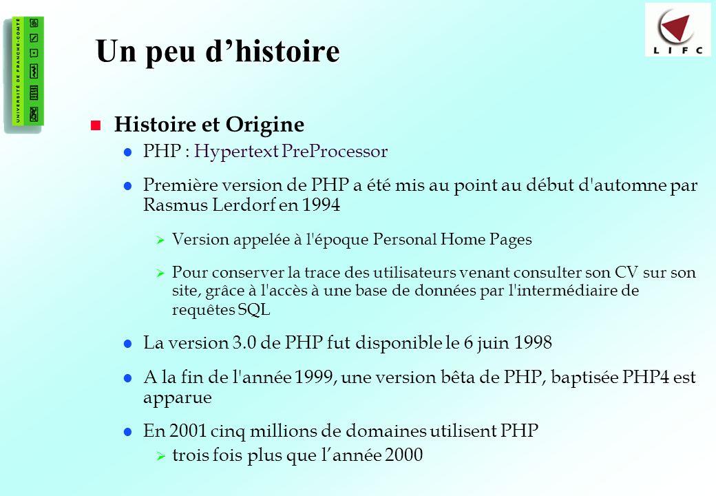 Un peu d'histoire Histoire et Origine PHP : Hypertext PreProcessor