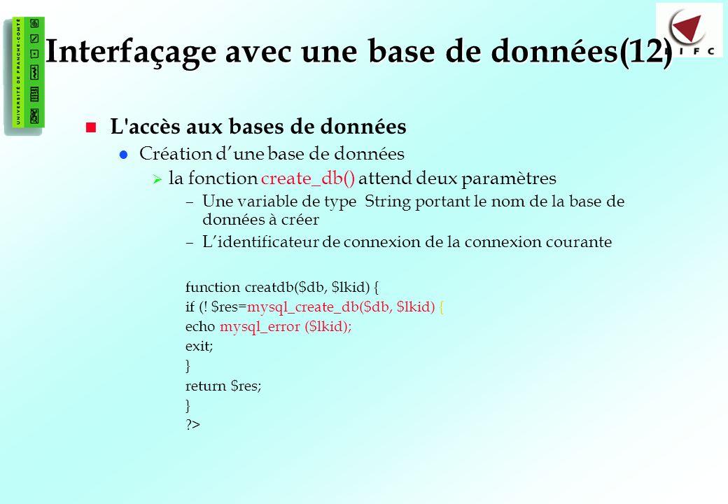 Interfaçage avec une base de données(12)