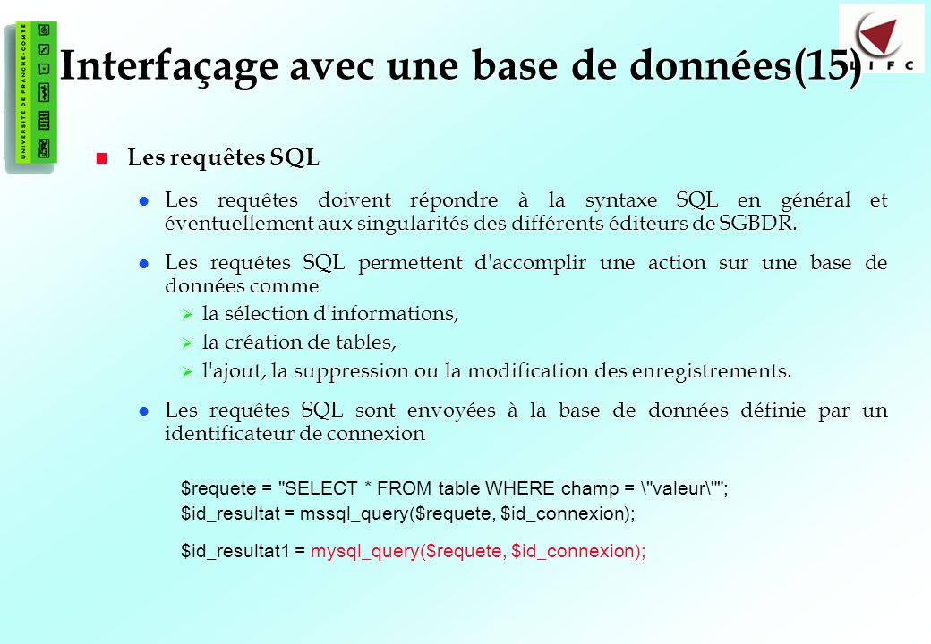 Interfaçage avec une base de données(15)